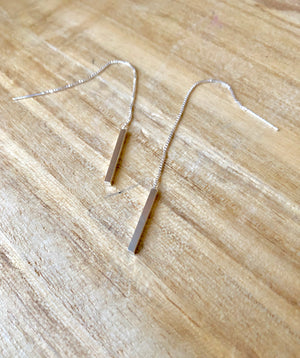 Minimalistic Thread Sterling Earrings