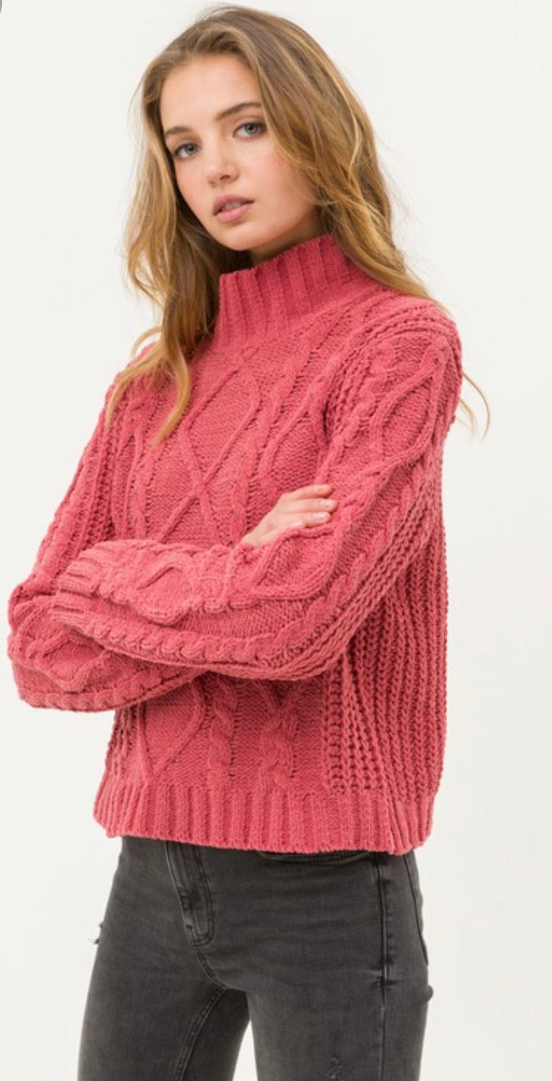 Apple Red Cable Knit Chenille Pullover