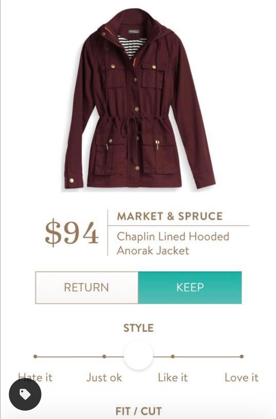 Stitch Fix Maroon 'Chaplin' Lined Hooded Jacket