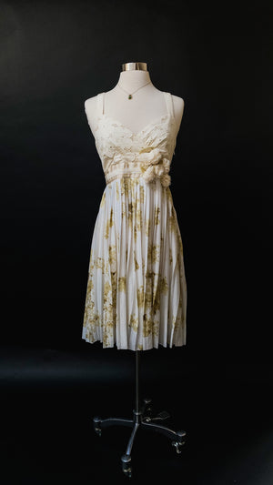 Anthropologie Deletta Tea and Sweets Eyelet & Cream Floral Dress (S)