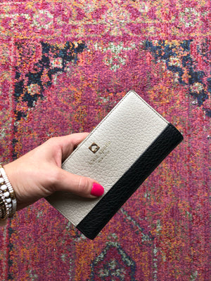 Kate Spade Taupe & Black Leather Fold Wallet