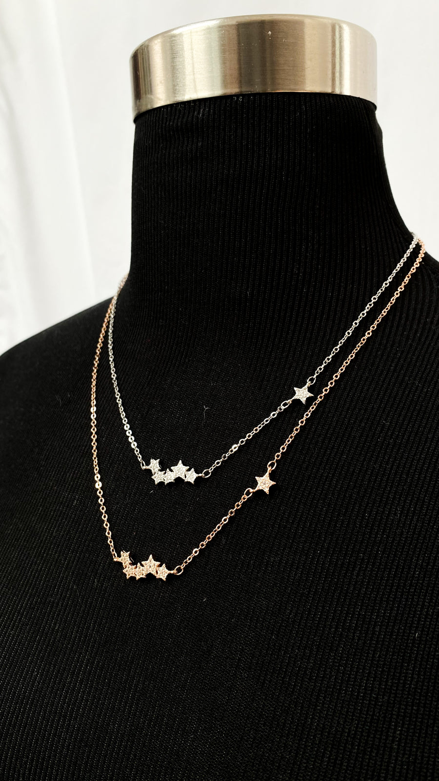 (2 metals) Star Burst Sterling Silver Necklace