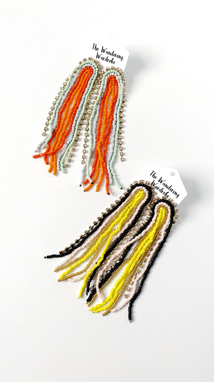 'Stassi' Bead + Rhinestone Fringe Earrings