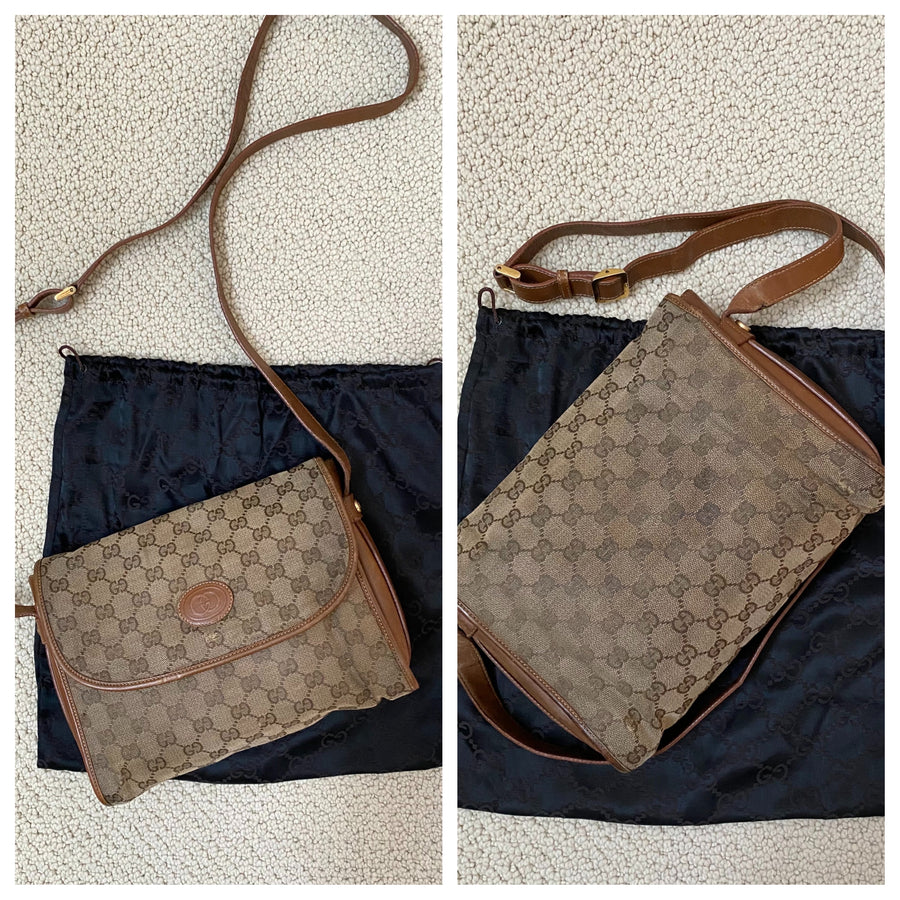 Gucci Vintage Canvas & Leather Purse