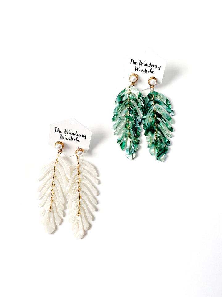 Palm + Pearl Drop Earrings