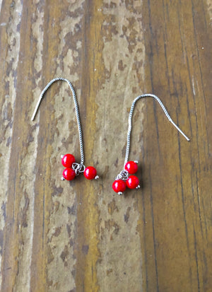 Berry Thread Sterling Earrings