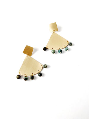Gold Fan + Green Stone Earrings
