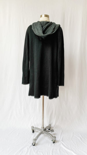 BNCI by Blanc Noir Black + Gray Hooded Cardigan (M)