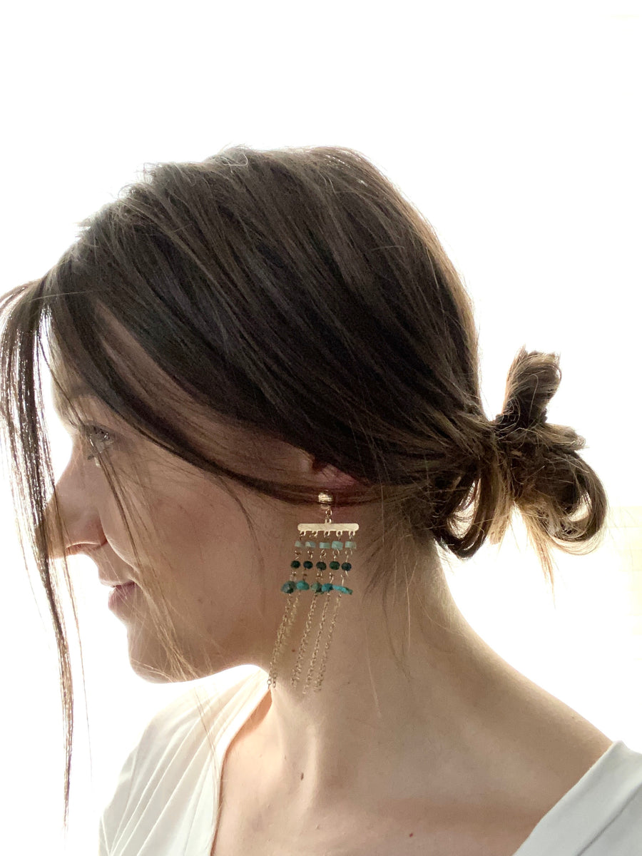 Green Stone + Gold Fringe Earrings