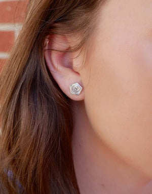 Rose Bud Sterling Stud Earrings