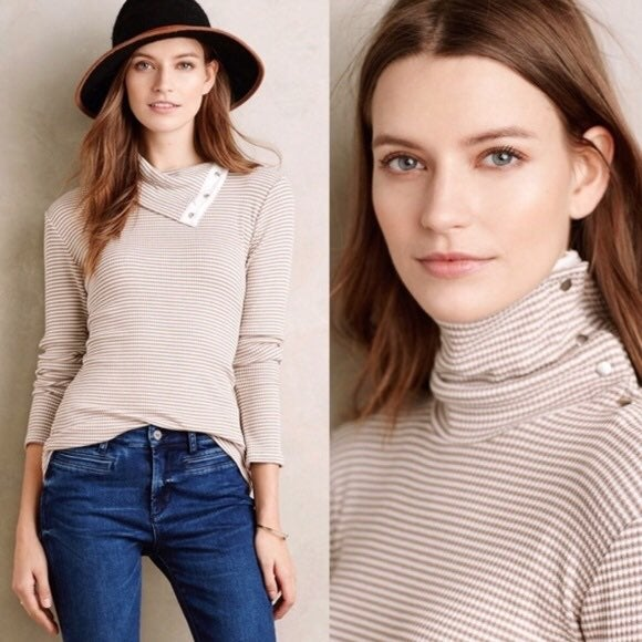 Anthropologie Brown Stripe Snap Button Turtleneck (L)