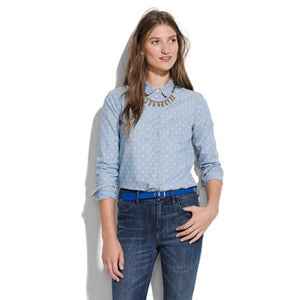 Madewell Light Denim Polka Dot Button Down (M)