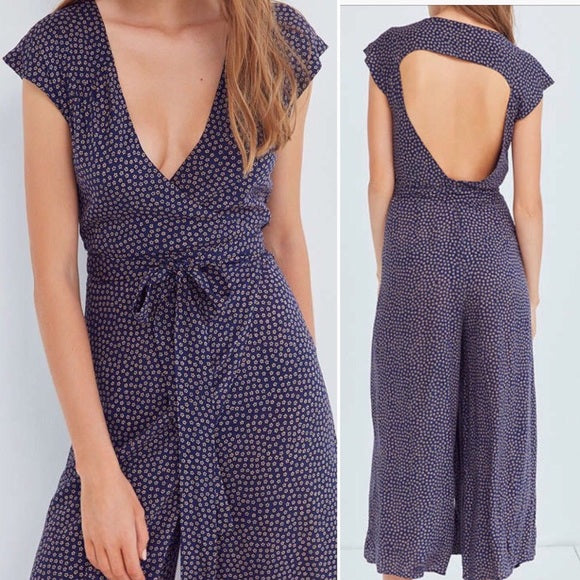 Urban Outfitters Navy Floral Wrap Jumpsuit (6)