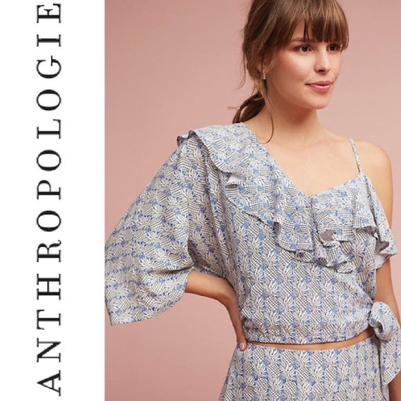 Anthropologie Maeve Pineapple Single Sleeve Top (M)