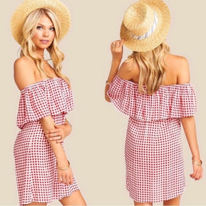 Show Me Your Mumu Red Gingham Mini Dress Tunic (S/M)