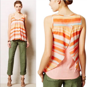 Anthropologie Meadow Rue Merlon Orange Stripe Tank (XS)