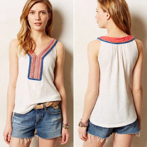 Anthropologie Embroidered Tank (M)