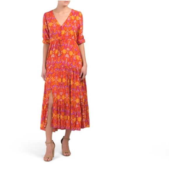 Abel The Label Orange and Red Boho Maxi Dress (S/M)