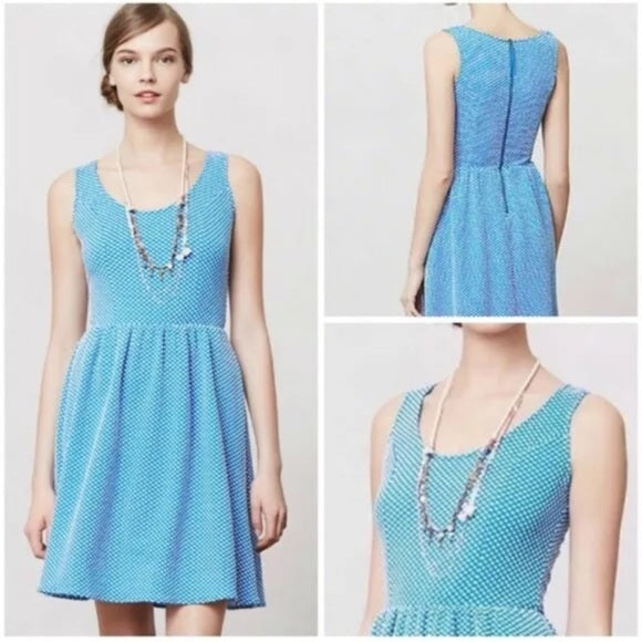 Anthropologie Caldera Blue Polka Dot Dress (M)