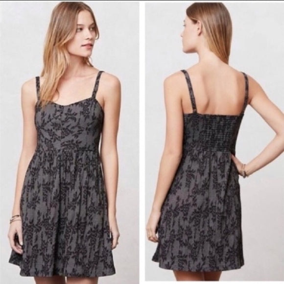 Anthropologie Black + Gray Jacquard Knit Lace Dress (L)