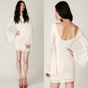 Free People Cream Crochet Bell Sleeve Dress (L)