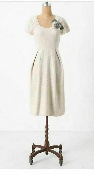 Anthropologie Cream Bouquet Knit Dress (S)