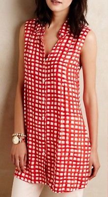 Anthropologie Percy Gingham Tunic Top (XS/S)