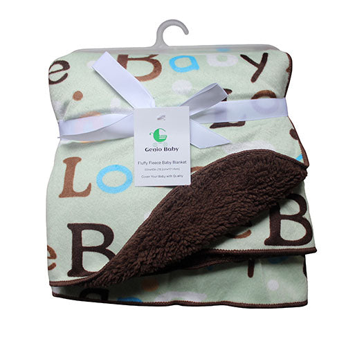 Sherpa Fleece Baby Blanket Unisex 30 x 40 Soft (Brown)