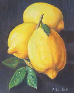 Lemons, pastel on paper, kitchen decoration