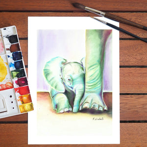Baby elephant, giclee fine art print of my original watercolor.