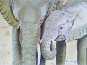 Elephants, original artwork on velvet paper, 24x32 cm.