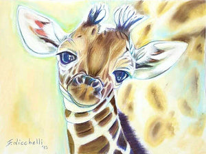 Baby giraffe, original drawing, ooak - soft pastels on velvety paper -32x24cm./12,6x9,4inc.-Always free shipping. Gigt idea, wall art.