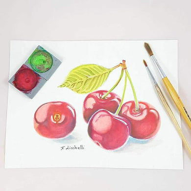 Cherries,fruits,watercolour,original,ooak, still life,24x18 cm./9,5x7 inc.,gift idea,birthday,wall art,wall decoration,kitchen