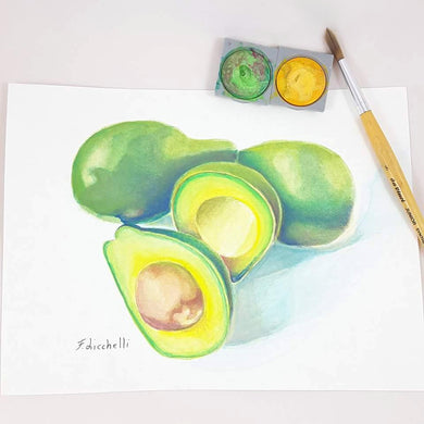 Still life with avocado, original painting by Francesca Licchelli, gift idea for fruit lovers, home decoration to hang on kitchen wall.