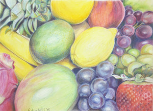Pencils drawing, colored pencils on velvet paper, still life, fruits, OOAK, kitchen decoration, home office Wall art, strawberries, grapes