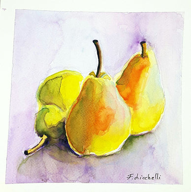 Yellow pears,watercolor,original painting,OOAK- 20x20 cm./8x8 inc., wall decoration,wall art,kitchen decore,gift idea,birthday,mother's day.