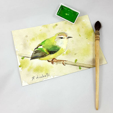 Original watercolor ready to hang, small painting depicting a sparrow on the branch, traditional gift idea, wall art, picture, mini painting