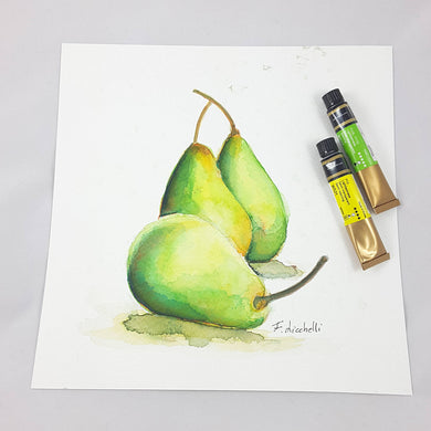 Green pears, watercolor, still life, original painting, wall decoration, home art for kitchen or restaurant, Christmas gift idea for mother