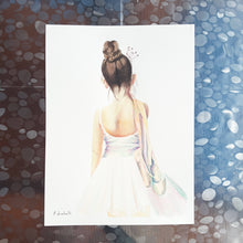 Dancer, original watercolor by Francesca Licchelli, child's birthday, special gift, gilrs bedroom decoration, contemporary art, wall decore.