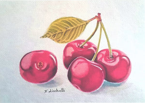 Cherries, giclèe fine art print, A5, A6, traditional kitchen decore, wall restaurant, small picture, original watercolor, scrapbooking card.