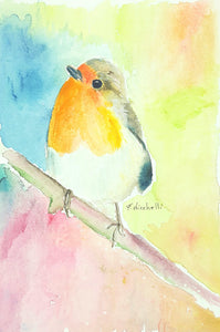 Redbreast on the branch, giclee fine art print, original watercolour, gift idea for new baby, birthday, art, nursery or bedroom decoration.
