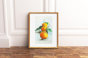 Giclée fine art print, three tangerines, original watercolor artwork, gift idea for her, new kitchen, traditional restaurant, living room.