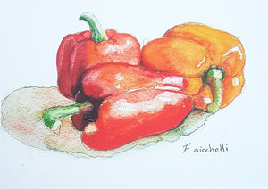 Red peppers, watercolor, giclèe fine art print, A5, still life, original painting, wall decoration, kitchen art, restaurant decore, tavern.