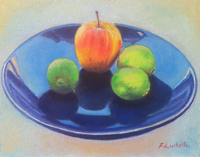 Original oil painting, still life, dish with fruits, kitchen decor idea, gift for iauguration of a new or renovated house, ready to hang art