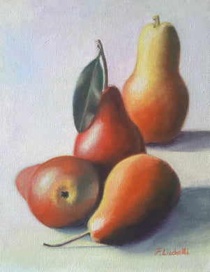 Oil painting, still life, red pears, ready to hang, gift idea for her, kitchen, new home decor, retirement colleague, restaurant decoration.