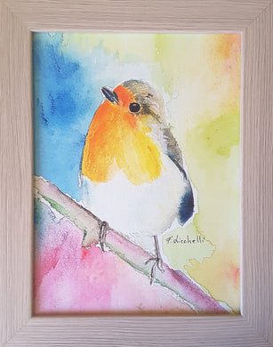 Painting, robin on the branch, print with frame, baptism gift idea, first communion, children bedroom, nursery decoration, baby shower gift.