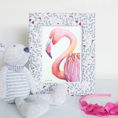 Pink Flamingo, watercolour with frame, original, ready to gift, ooak, baby shower gift idea, wall art, home office decoration, girls bedroom