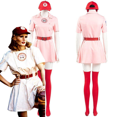 A League Of Their Own Dottie Women Pink Dress Outfits Halloween Carnival Suit Cosplay Costume - SpiritCos