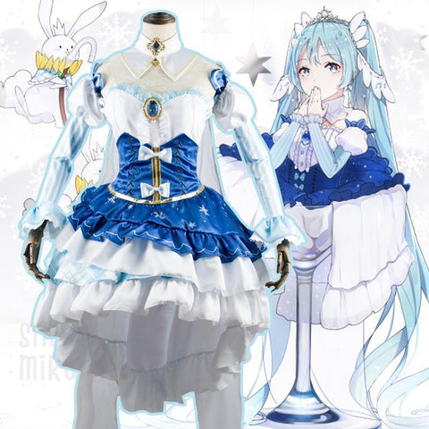 Vocaloid Snow Princess Dress Costume Hatsune Miku Cosplay - SpiritCos