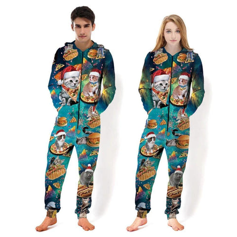 Men'S Women Pizza Cat Full-Zip Casual Pajamas Jumpsuit - SpiritCos